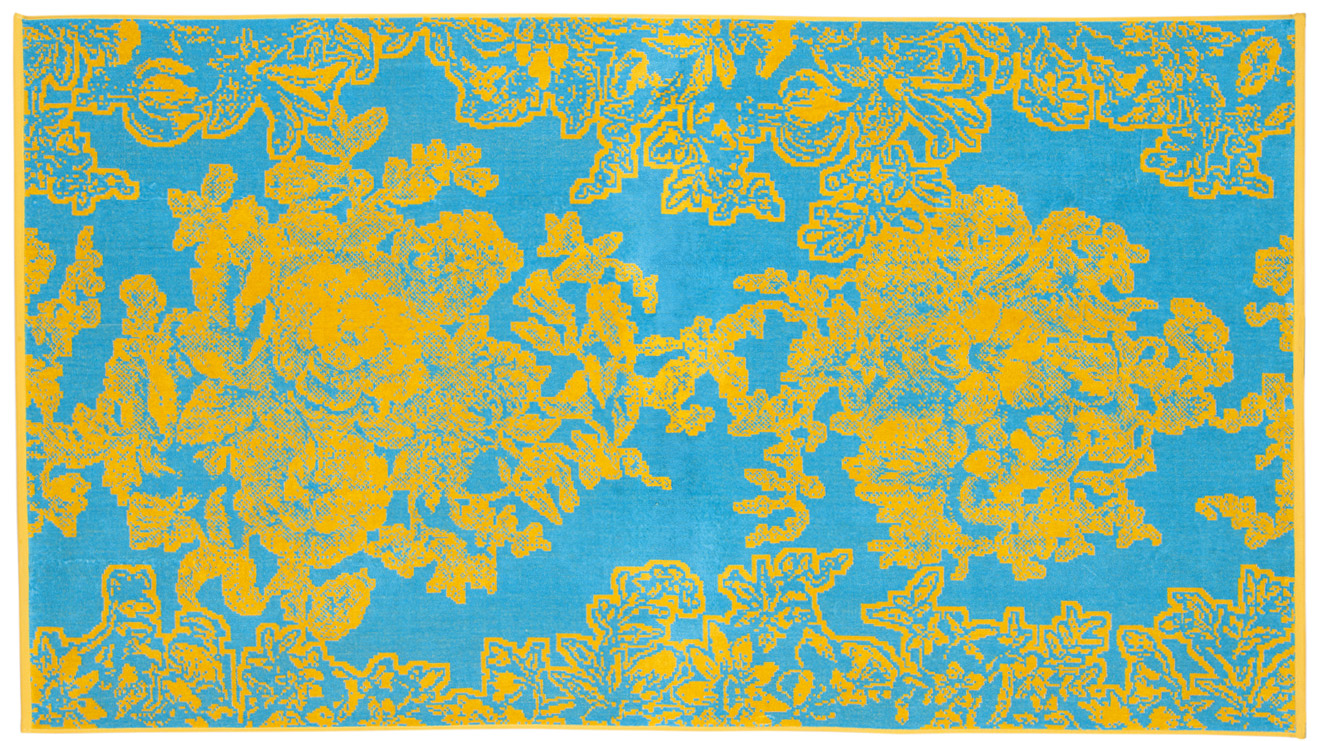Beach Towel Turquoise Ancient Flowers 100x180