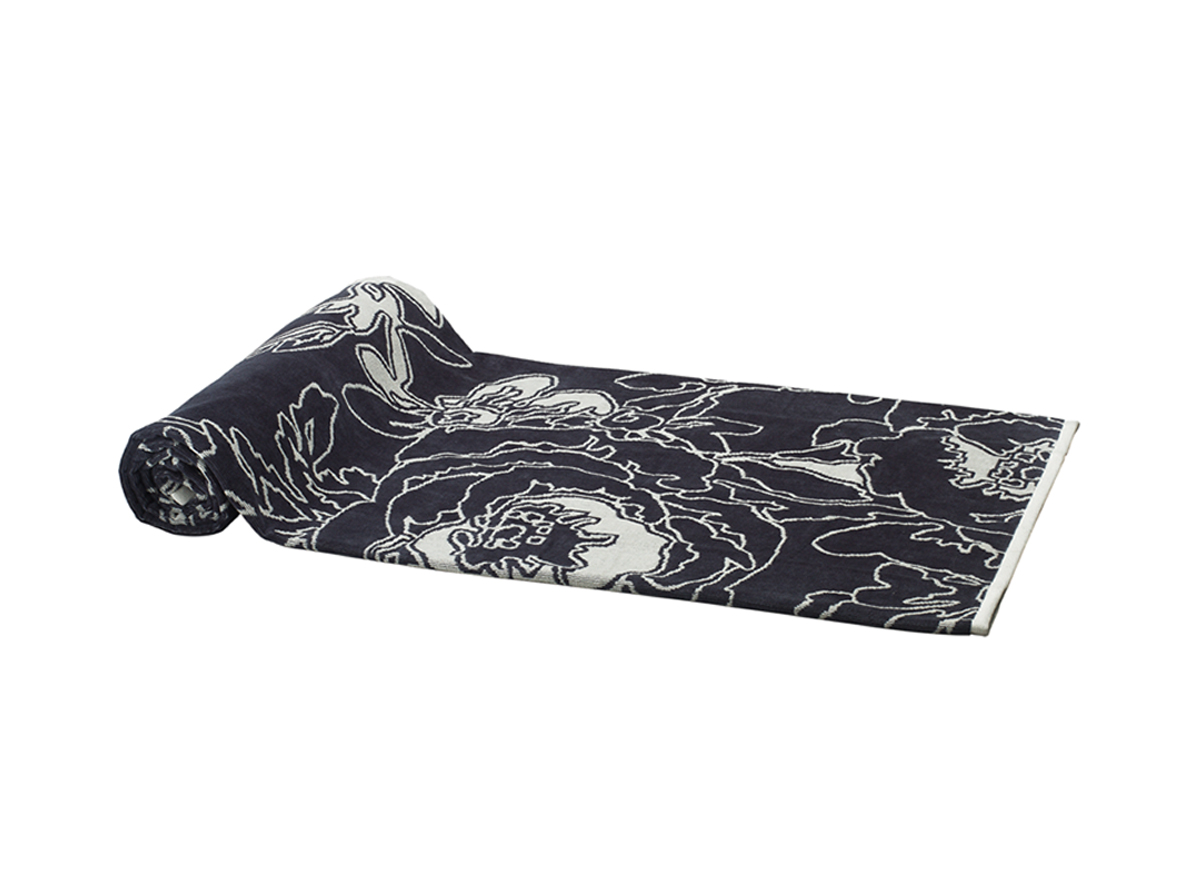 Beach Towel Gray Graphic Flowers 100x180