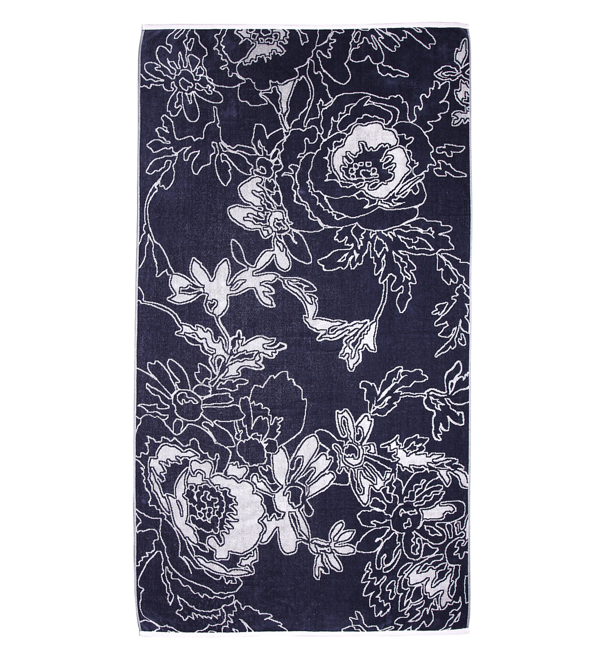 Beach Towel Gray Graphic Flowers 100x180