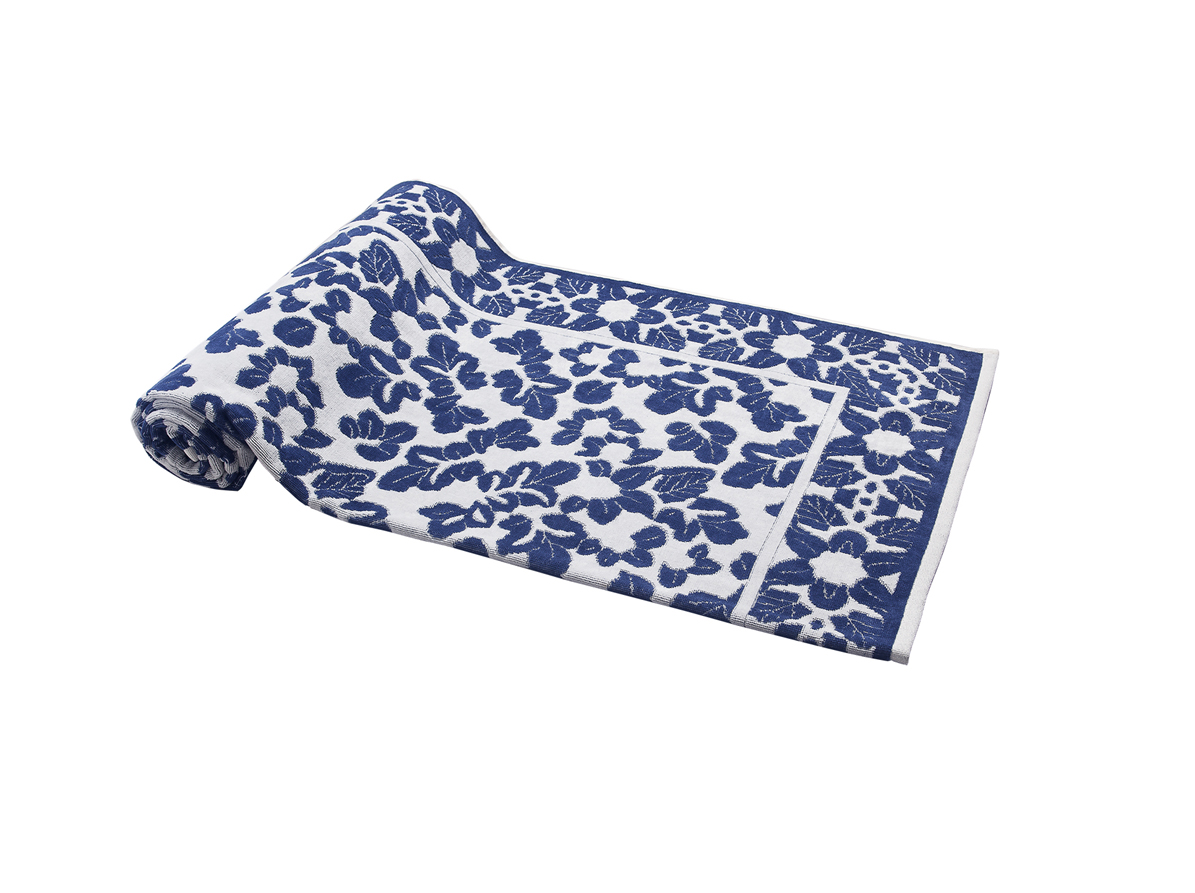 Beach Towel Blue Little Leaves 100X180